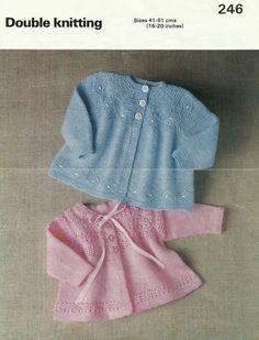 PDF File vintage baby knitting pattern blue coat by DesignDeedee