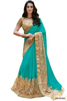 Fashionable top turquoise beige color sangeet function net georgette saree is classically motifs by heavy embroidery and jari work. Buy this new fashion georgette saree #saree, #designersaree more: http://www.pavitraa.in/store/designer-sarees/