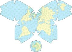 "The world's best map projection – Numbers and Shapes Although the icosahedron would seem to be the best choice of polyhedron because of its large number of faces (and no doubt this was Buckminster Fuller's reasoning), the best results seems to have been obtained using an octahedron. Here is Waterman's ""butterfly projection"" first developed in 1996, which is in many ways a magnificent example of good cartography:"