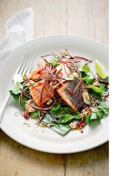 Martin Boetz's smoked ocean trout with banana blossom and sweet fish sauce Banana Blossom, Cooking Recipes, Healthy Recipes, Fish Sauce, Trout, Japchae, Bon Appetit, Seafood, Dinner Recipes