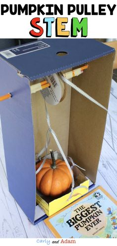 Pumpkin Pulley STEM: Make learning fun with this Fall Halloween STEM Activity in which students investigate pulleys and pumpkins! An excellent companion activity to the fall read aloud The Biggest Pumpkin Ever by Steven Kroll. Steam Activities, Autumn Activities, Classroom Activities, Physical Activities, Stem Science, Science For Kids, Life Science, Stem Classes, Biggest Pumpkin
