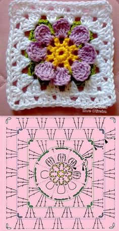 crochet granny square rose sExtremely beautiful and vibrant, this Free Daffodils Granny Square Crochet Pattern is simply amazing.Cute granny square with flower motif.Crochet Diagram Flowers - crochet owl of african hexagone chart. Crochet Flower Squares, Crochet Motifs, Crochet Blocks, Granny Square Crochet Pattern, Crochet Diagram, Crochet Chart, Love Crochet, Crochet Granny, Crochet Flowers