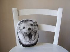 throw pillow hedgehog decorative pillow handpainted by MosMea