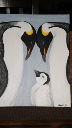 Cuddling Penguins Mini Canvas Acrylic Painting