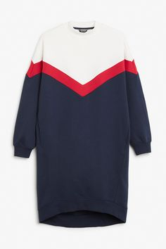 Monki Image 1 of Oversize sweater dress in Blue Reddish Dark