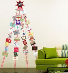 Display all your Christmas cards on this fabulous Christmas Card Display Wall Sticker, that's shaped like a tree. Hanging Christmas Cards, Christmas Card Display, Christmas Card Pictures, Xmas Cards, Holiday Cards, Merry Little Christmas, Christmas Greetings, Winter Christmas, Christmas Holidays