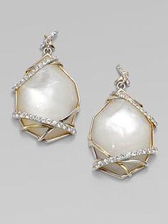 Kara Ross - Mother-of-Pearl White Sapphire Drop Earrings