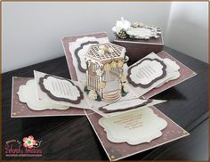 Brown & Cream Theme with Wedding Gazebo Exploding Box Card pinned with Pinvolve - pinvolve.co
