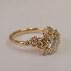 Moissanite Art Deco Petal Engagement Ring  - 14K Rose Gold and Moissanite engagement ring, leaf ring, flower ring, forever brilliant
