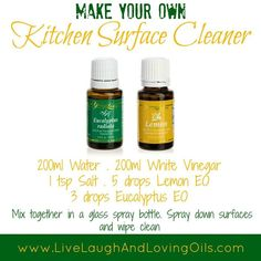 Young Living Essential Oils: Kitchen Cleaner Contact me to order yours or learn more about Young Living visit my site for more info http://www.OilLovingGirl.com  If you like this then check out this recipe for an easy household cleaner spray https://livingcleannow.com.au/best-household-cleaner-spray/