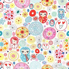 Abstract seamless pattern with bright colored dolls on white background