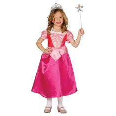 Roze prinsessenjurk met korte mouwen. Materiaal: 100% polyester.