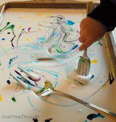 Coloured Glue Sensory Activity - loads of fun in 10 minutes