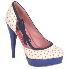 Feminine, blau-rote Pumps von Fornarina. Die wunderschönen Schuhe sind gemacht für erwachsene Mädchen! Das schöne Muster und die süße Schleife sorgen für das gewisse Etwas! Die Schuhe lassen sich super mit Sommerkleidern kombinieren!