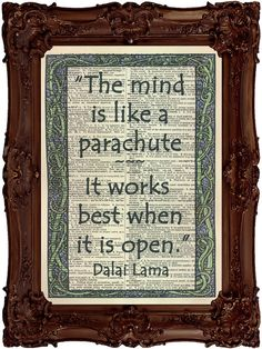 Dalai Lama Quote The Mind Is Like A Parachute by HangWithUsToday, $10.00