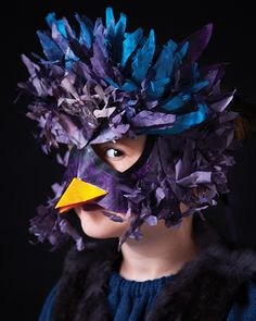 Bird Mask made from Coffee Filters - #sweetpaul #Halloween #Mask