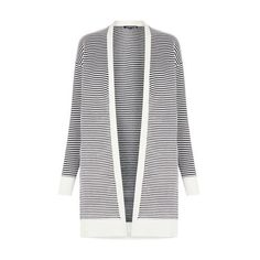 Warehouse Ottoman Stripe Cardi (89 CAD) ❤ liked on Polyvore featuring tops, cardigans, black stripe, striped top, stretch top, stripe cardigan, long sleeve tops and striped long sleeve top