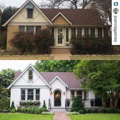Trendy house exterior makeover before and after fixer upper 61 Ideas Exterior Paint Colors For House, Paint Colors For Home, Exterior Colors, Exterior Design, Diy Exterior, Paint Colours, Exterior Rendering, Brick Design, Tudor Exterior Paint