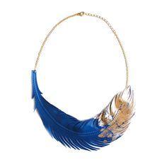 Feather Necklace Blue