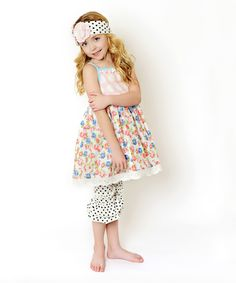 Oopsie Daisy Pink Floral A-Line Dress & Ruffle Leggings - Toddler & Girls by Oopsie Daisy #zulily #zulilyfinds