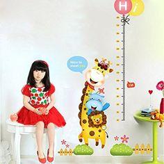 Ufengke® Cartone Animato Giraffa Leoni Adesivi Murali con Metri, Camera Dei Bambini Vivai Adesivi da Parete Removibili/Stickers Murali/Decorazione Murale