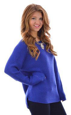 Feeling Royal Blue Oversized Sweater shopbelleboutique.com