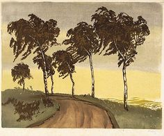 ✨ Hugo Noske, Austrian (1886-1960) - Wind Blown Trees, ca. 1925, Color woodblock printed on fine laid paper. Signed in pencil at lower right Noske, 31.8 by 38.9 cm ::: Bäume im Wind, Farb-Holzschnitt