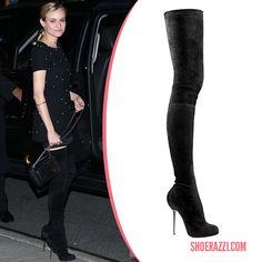 Diane Kruger in Christian Louboutin Big Lips Boots - ShoeRazzi
