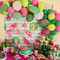 Watermelon birthday party, 3rd Birthday party. It's sweet to be 3!