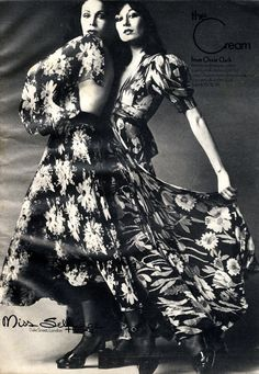 Ossie Clark (model on the right is a young Anjelica Huston) for Miss Selfridges 1970s
