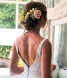 wedding hair classic messy BoHo chignon style with individually placed fresh flowers Wedding Hairdressers, Civil Ceremony, Hair Tutorials, Bride Hairstyles, On Your Wedding Day, Fresh Flowers, Bridal Hair, Bridesmaid, Long Hair Styles