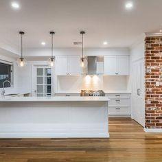 Modern Farm House Design Ideas That Look Perfect 8 Farmhouse Style Kitchen, Home Decor Kitchen, Kitchen Living, Diy Kitchen, Kitchen Interior, Interior Design Living Room, Home Kitchens, Kitchen Design, Interior Livingroom
