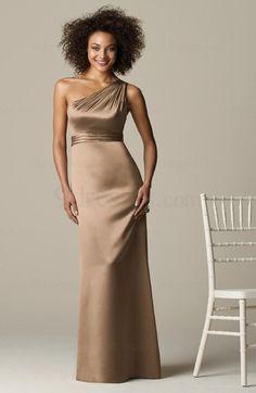 Elegant One Shoulder Backless Empire Sleeveless Sweep Train Bridesmaid Dress