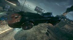 Batman Arkham Knight: 1989 Batmobile mid-jump.