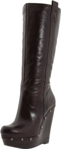 Details about LADIES CASUAL KNEE HIGH ZIP UP FAUX FUR TRIM WEDGE