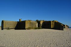 West side of the WWII Bunker, now sealed up; an historic landmark on the beach at Cape May Point, NJ.