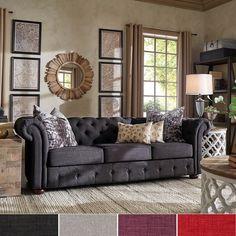 Tribecca Home Tufted Scroll Arm Chesterfield Sofa