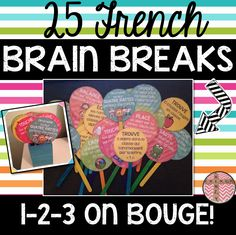 This product includes 25 French Brain Breaks that you can use with your class when you think they are in need of a short break or during your DPA program. Each brain break takes on average two minutes to complete. You may choose to use this with your Classroom Procedures, Classroom Activities, Classroom Management, Class Activities, Classroom Organization, French Teacher, Teaching French, Teaching Spanish, French Flashcards