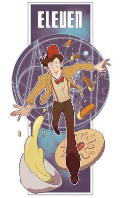 The Eleventh Doctor (and I love that, compared to Nine being all GRRR and Ten being all SPROING!, Eleven is taking particular care not to fall over himself. XD)