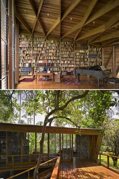 (via Flavorwire » 20 Beautiful Private and Personal Libraries) My dream library would look just like this. I love how much natural light there is, I love the deck and I love that it's surrounded by trees.
