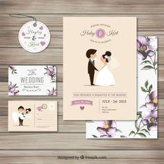 Coleção do convite de casamento bonito | Baixar vetores grátis