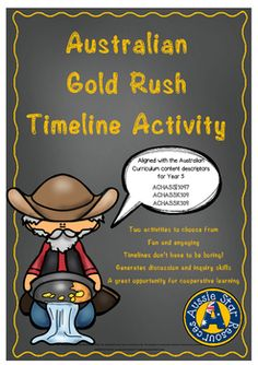 HASS - This activity allows students to create a chronological timeline of the major events of the Australian Gold Rush. There are two options for this activity; the first is to create an expandable timeline and the second is to create a linear timeline. The information has been provided for the students to read and sort in chronological order and glue on to their timeline.