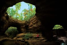 """Tennessee Fitness Spa - 'Ice Cave is a cavern that stays 58 degrees year round. The spa's crown jewel is the historic Natural Bridge. """"It's the only double-span natural bridge formation that we're aware of in the world"""".... The beloved bridge served as the site where David Crockett allegedly gave his very first political speech, outlaw Jesse James hid out from lawmen and tribal council meetings were held.' Just west of the Natchez Trace Parkway."""