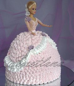 What more in a birthday cake can a girl want ! Barbie Doll Birthday Cake, Birthday Cake Girls, Princess Torte, Dolly Varden Cake, Bolo Barbie, Little Girl Cakes, Baby Shower Cupcakes For Girls, Special Birthday Cakes, Wedding Anniversary Cakes