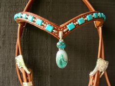 Custom headstall with sterling silver pendant with turquoise and druzy crystal pendant with turquoise stones and silver.