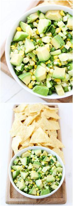 Zucchini, Corn, and Avocado Salsa on twopeasandtheirpod.com Love this fresh and healthy salsa! #glutenfree #vegan #zucchini