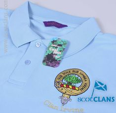 Embroidered luxury polo shirt with the Irvine Clan Crest  - from ScotClans