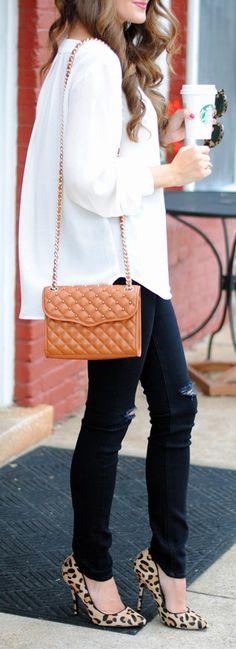 white tunic // distressed black jeans // leopard heels // Rebecca Minkoff bag