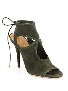 Aquazzura - Suede Cutout Sandals Lace Back 0a312cd35703
