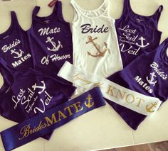 Set of 6 Bachlorette Party Tank Tops! Nautical, Bride, Maid of honor, BridesMaids and friends!